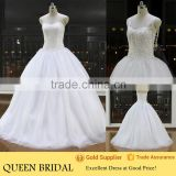Latest Style Sweetheart Sequined Beads Bodice Princess Ball Gown Guangzhou Wedding Dress