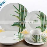 Ceramic 20pcs porcelain dinner set with bamboo design,super white porcelain set