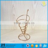 Gold Stainless steel Ice Cream Cone Holder, metal wire fry basket, table serving fry basket
