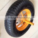 rubber solid wheel wheelbarrow tyre with yellow plastic rim