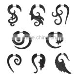 Body Percing Angelic 8 Shape Hook Curved Hanger Style Taper Plug - Carved From Natural Organic Buffalo Horn - Avaible in 16G