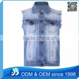 Custom Bleach Washed Denim Vest Wholesale