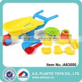 Outdoor plastic mini beach castle sand molds and shovels with beach wheelbarrow