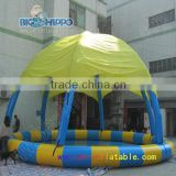 commercial inflatable water pool with tent for rental business