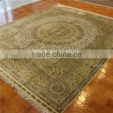 8x10ft golden color round corner hand woven room oriental silk rugs