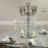 wholesale 5 arms crystal candleabra sliver wedding candelabras centerpieces with chandelier