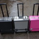 Professional Rolling Cosmetic Case w/ 8 Trays Black/Silver/Pink Diamond Aluminum(XY-877)
