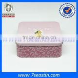 cute mini square pink candy chocolate cookies tin box container wholesale from Dongguan manufacturer