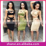 Sexy girls two piece suit club party wear skirt design bodycon bandage dress