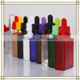 Trade Assurance! wholesale 15ml 30ml matte black rectangle/square glass dropper bottles for beard oil with pipette dropper