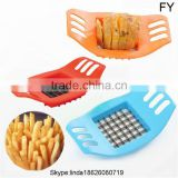 Easy to use stainless steel and plastic manual potato chipper , pototo chips french fries cutter