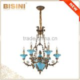 French Rococo Style 6 lights Porcelain Chandelier With Antique Bronze/ Handmade Blue Ceramic Pendant Light