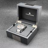 Luxury men grey leather braned watch box with logoHigh quality black leather luxury braned men watch box