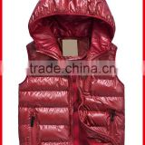 kid zip up hood jacket without sleeves in red for fall outer wear