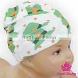 Wholesale Lovely St. Patrick's Item Green Cap Pattern Printed Organic Cotton Baby Beanie Hat