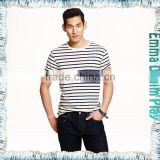 2017 Mens New Pattern Stylish White Black Striped Combed Cotton O Neck T-Shirts Wholesale