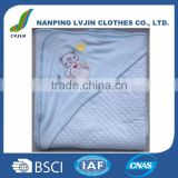 Infant and Toddler 75% cotton 25%polyester sandwich 300gsm Hooded Bath Towel and Newborn Baby Blanket