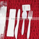 Disposable plastic cutlery set with napkin and pepper salt