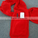 China Manufacture produce red women scarf polar fleece scarf with pockets
