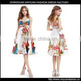 Wholesale Lady Fashion Sleeveless Floral Printed Halter Dresses Womens Backless Designs Satin Midi Dress