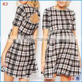 Hot Sale Newest Design Maternity Beauty Skater Dresses Print Plaid Check Mini Dress with Cut Out Back