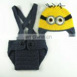 Crochet Newborn Photography Costumes Minion Hat + Diaper Cover With Suspenders Set,Newborn Photography Outfit