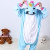 Children Unicorn Cartoon Flannel Conjoined Polyester Pajamas