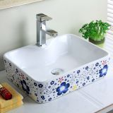 Flower Decal Art Basin Colorful Ceramic Washing sink for Bathroom
