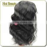 Body wave 100% human hair jet black Brazilian hair lace front wig