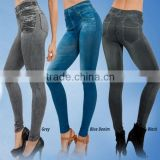 Original Manufacture Bulk Denim Printed Ankle Length Footless Stretchy Pantyhose Jeans Leggings