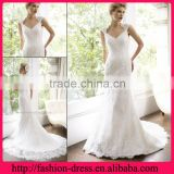 Shealth V-line Neckline Cap Sleeves Full Back over Lace Wedding Dresses with Cap Sleeves