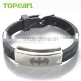 Topearl Jewelry Black Batman Stainless Steel with Rubber Adjustable Bracelet MEB138