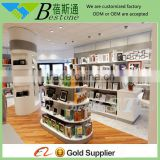 Modern wood gondola shelving for retail photo frame store, grocery tower slatwall display
