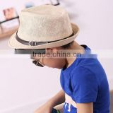 2015 Hot sell blank boys summer straw hat fedora hat paper straw hat fedora with button 6colors