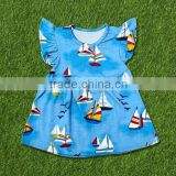 New design kid clothes 2016 wholesale summer childrens boutique clothing fashion baby girl sailboat pattern flutter sleeve dress