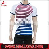 High quality bule and red stripe sublimation fabric material jersey soccer without brand                                                                         Quality Choice