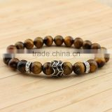 BRP1309 natural tiger eye gem stone strench bracelet stainless steel bead with CZ paved charm bracelet                                                                                                         Supplier's Choice