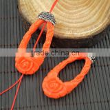 LFD-0022B Newest Orange Shell Carved Engraved Flowers Pave Rhinestone Crystal Connectors Beads For Making Necklace