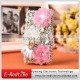 Bling Bling flower design pearl rhinestone cell phone cover for iphone 4s 5S 6