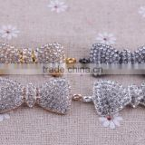 Fashion bow shinny crystal rhinestone connector charms ! wholesale crystal glitter sliver Connector for bracelet making!!