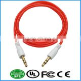 AUX Cable Fluorescent Red Gold Plated Audio I/O Wire Stereo Panel Mount Cable for PC, Car Audio, Audio Equipment