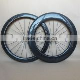 3K glossy carbon combo wheels 60mm+88mm with road free gear black hub 25mm profile fat rim