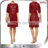 2016 New Fashion Half Sleeve Dark Red Lace Cocktail Dress Short