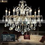 Modern Luxury Hotel Lobby Chandeliers Lighting Cognac Colored Glass Chandelier Crystal Hanging Lamp Light Fixture CZ3019/8C