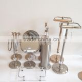 2014 new High grade crystal decorative bathroom accessories set 4pcs: toilet roll holder stand, brush bowl, towel rack, mirror