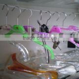 custom acrylic colored/clear clothing hanger with silk-scree/laser carving logo,apparel hanger with metal hook and clip