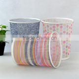 Office Stationery Metal Mesh Round waste bin colorful printed pattern Trash Can