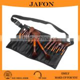 Professional brown 25pcs makeup brush set with belt leather wasit pouch