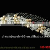 fashion plastic hair combs flower comb bridal silver crystal combs wedding jewelry for sale