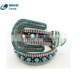 Fashion CowgirL Western Sparkling Turquoise Strass Chain Rhinestone Leather Belt